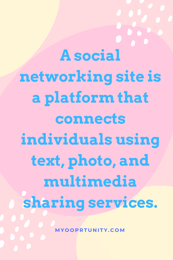 A social networking site is a platform that connects individuals using text, photo, and multimedia sharing services.